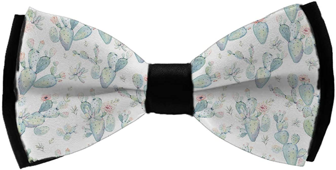 Luxury Elegant Polyester Pre-Tied Bowtie For Men & Boys, Adjustable Length Cactus Succulents Formal Wedding Party Celebration Bow Tie