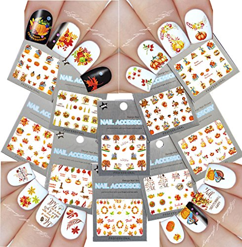 Nail Art Water Slide Tattoo Decals Fall Into Fun Thanksgiving Theme - 10 Pack