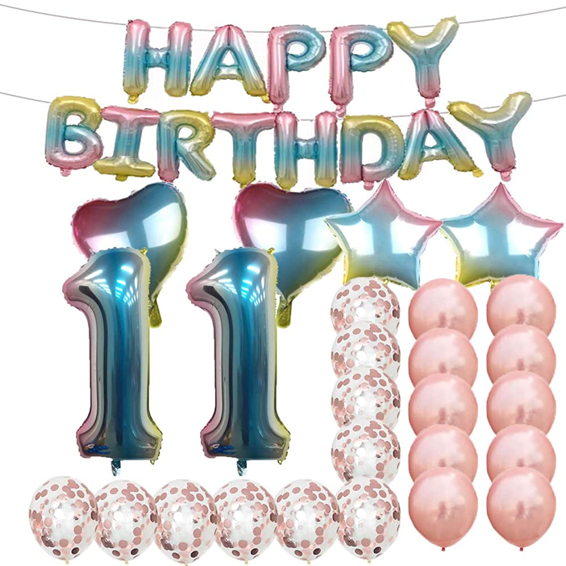 Sweet 11th Birthday Decorations Party Supplies,Rainbow Number 11 Balloons,11th Foil Mylar Balloons Rose Gold Latex Balloon Decoration,Great 11th Birthday Gifts for Girls,Women,Men,Photo Props