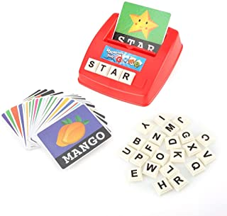 English Matching Letter Game Cartoon Educational Spelling Words Toy & Increases Memory Interactive Parent-Kids Desk Game (Uppercase Letter)