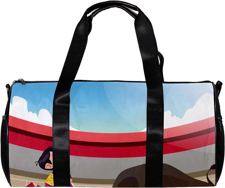 Bolsa de deporte redonda con correa de hombro desmontable Torero Versus Angry Bull Training Bag para mujeres y hombres