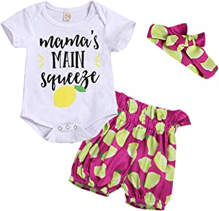 YOUNGER TREE Newborn Baby Girl Clothes Lemon Print Romper Shorts Outfits Summer Clothes Headband 3Pcs Set