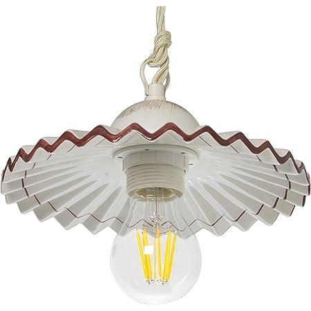 VANNI LAMPADARI- Lampada sospensione piatto plisse diametro 20 in Ceramica Decorata a Mano Disponibile in 5 Colori