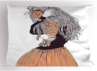 Ducan Lincoln Pillow Case 4 Piezas 18X18 Pulgadas Funda De Almohada De Niña,Falda De Pelo Largo Femenino Que Escucha Música,Fondo Liso,Decoración para El Hogar,Funda De Almohada Impresa Estándar