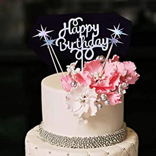 YUINYO Silver Glitter Happy Birthday Cake Topper Rhinestone Cake Toppers Happy Birthday Cake Bunting Birthday Party Decora...