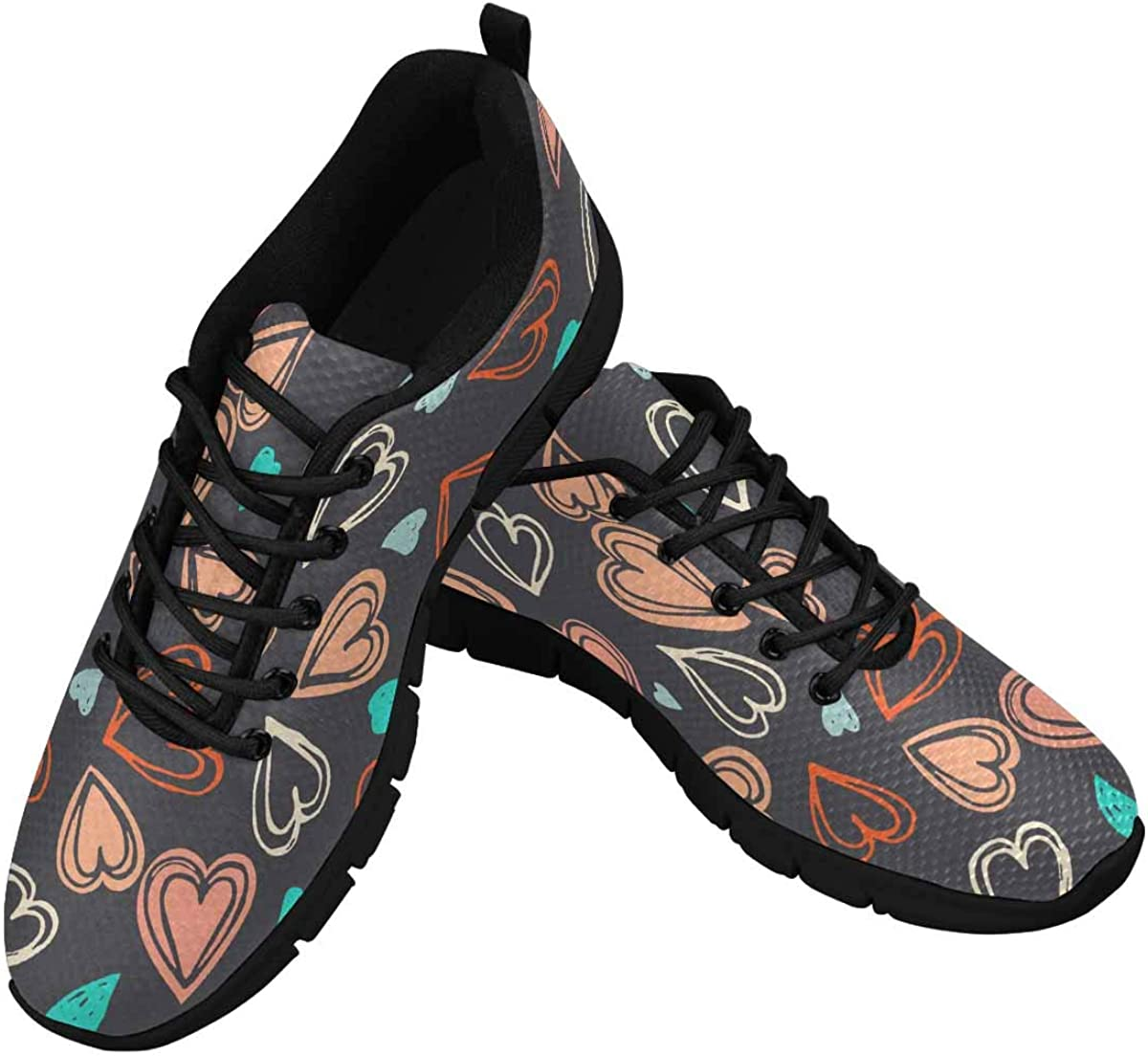 InterestPrint Cute Colorful Hearts Women's Running Shoes Mesh Breathable Sports Casual Shoes