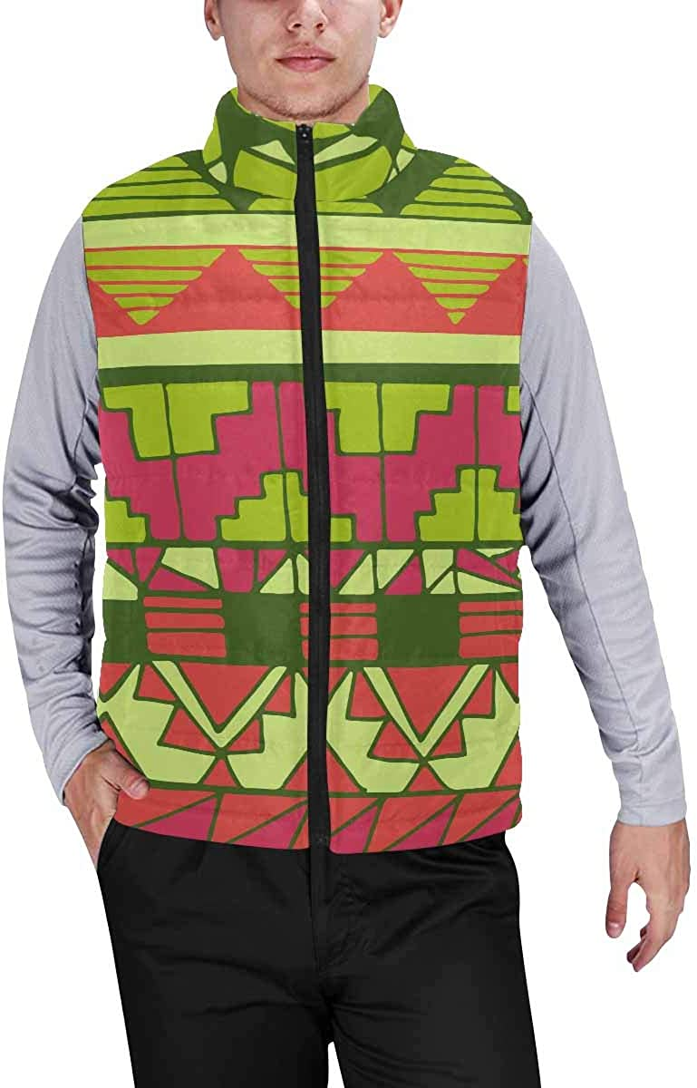 InterestPrint Casual Classic Quilted Sleeveless Vest for Men Azte American Woman