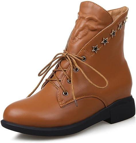 Elegant high chaussures Chaussures Femmes Talon Plat Bout Rond Bottes Décontracté Noir Marron Rouge