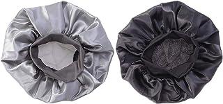 Beaupretty 2ピース弾性寝袋脱毛キャップ帽子化学療法キャップ女性女の子のための(ブラック+シルバー)