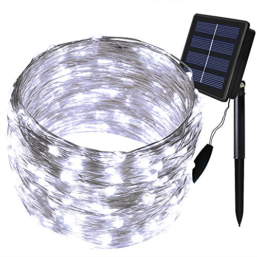 Solarmks Solar Lights Outdoor String 200 Led Copper Wire Solar Fairy Lights Outdoor Decoration Twinkle Lighting String Lights for Outdoor Garden Holiday,White