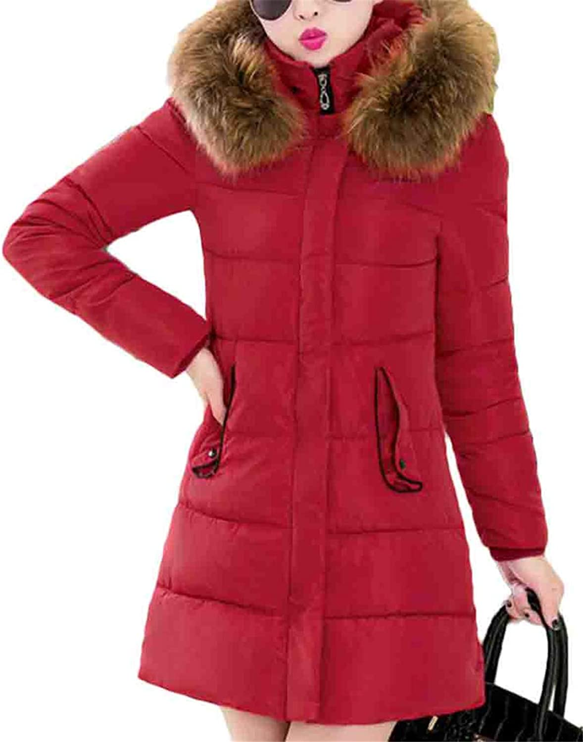 Nanquan Women Slim Hooded Quilted Padded Warm Faux Fur Collar Puffer Down Jacket