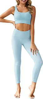 Women's Workout Sets 2 Pieces Sets High Waist Yoga Leggings with Stretch Sports Bra Gym Clothes Sets