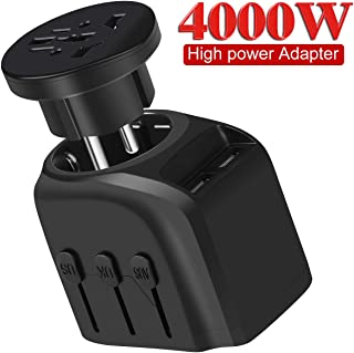 European Travel Plug Adapter, YVELINES 4000W International Power Adapter with 2 Smart Identification USB Charging Ports, converters and adapters for travel,for US,EU,AU,UK,Asia,Africa etc,Black