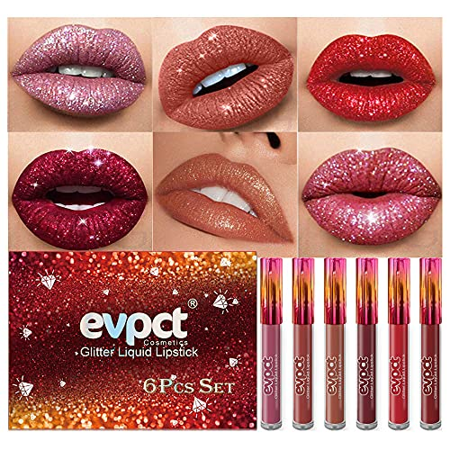 evpct 6Pcs Matte to Glitter Liquid Lipstick Long Lasting Lips Set Kit,6 Colors Diamond Red Glitter Sparkly Glossy Waterproof Lipstick Metallic Shimmer Brown Pink Lipgloss Lip Gloss Sets for Women
