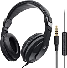 VCOM Over Ear Headphones with Microphone, Lightweight Stereo Wired Headset, 3.5mm Audio Jack for Smartphones Tablets Laptops MP4 PS4 Office School Classroom Online Chat Students Teens Adults (Black)