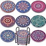 Newk Posavasos para Bebidas, 8 Juegos de Posavasos absorbentes de mármol de cerámica con Soporte de Metal, 4 Pulgadas, 8 Patrones de Mandala Diferentes