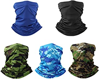 5 Pack UV Protection Neck Gaiter Summer Cooling Balaclava Face Cover Multi Scarf Bandana Headbands Motorcycle Headwear Neckwarmer for Women Men Hiking Fishing Hunting Cycling Other Outdoor Activities