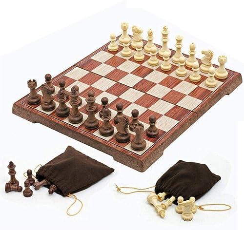 Qupanpan Internationales magnetisches Schachspiel Tragbares Holzbrett Game-A-19  19cm