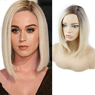 Ombre 613 Blonde Short Bob Synthetic Hair Wigs for Women Andromeda Medium Length Asymmetrical Side Part Straight Hair Wigs Costume Cosplay Party Glueless Half Wigs+ 1Pcs Wig Cap