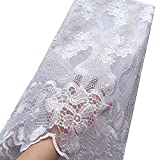WorthSJLH White Lace Fabric 2020 African French Lace Fabric Tulle Nigerian Lace Fabric Material for Wedding Dress (1154)