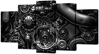 VVOVV Wall Decor - 5 Piece Canvas Prints Engine Engineering Closeup Gear and Chain Black and White Photos Wall Art Modern ...