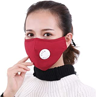 Foonee Dust Mask with Valve Filters, Anti Pollution Mouth Mask Respirator PM2.5 Safety Mask - Reusable Washable Face Mask for Pollution Pollen Allergy Woodworking Mowing Running