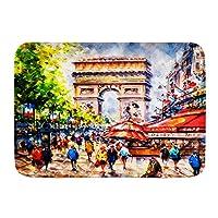 PATINISA バスマット、凱旋門パリフランスは背景を描いた、マット滑り止め ソフトタッチ 丸洗い 洗濯 台所 脱衣場 キッチン 玄関やわらかマット 45x 75cm