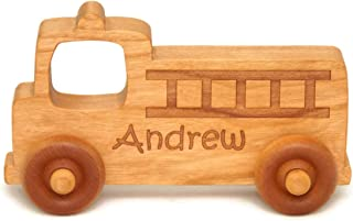 Wooden Toy Fire Truck, Toddler Toy, Personalized Wood Toy Car, Personalized Toy Gift, Baby Shower Gift, Nursery Decor