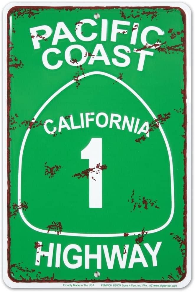 Pacific Coast Highway Tin 12in Ranking TOP14 Sign Max 60% OFF x 8