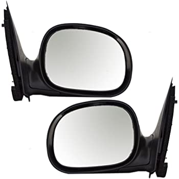 Driver and Passenger Manual Side View Contour Type Mirrors Chrome Covers Replacement for Ford Pickup Truck F85Z17683BAAPFM F85Z17682BAAPFM