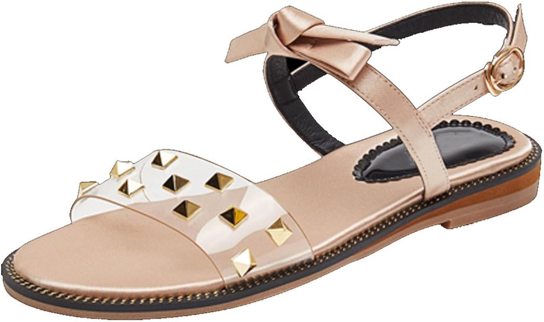 YUBIN Sandals Wild Flat Net Red Sandals Vintage Fairy Mid Heel Transparent (Size   35)