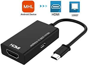 Micro USB to HDMI, MHL Micro USB to HDMI Cable, MHL to HDMI Adapter for Android Devices, MHL to HDMI, MHL Adapter Plug & Play, Micro USB to HDMI Adapter, Micro USB to HDMI Converter 1080P HDTV for S5