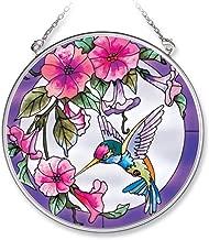 Amia Handpainted Glass Pink Morning Glory and Hummingbird Suncatcher, 4-1/2-Inch (7245)