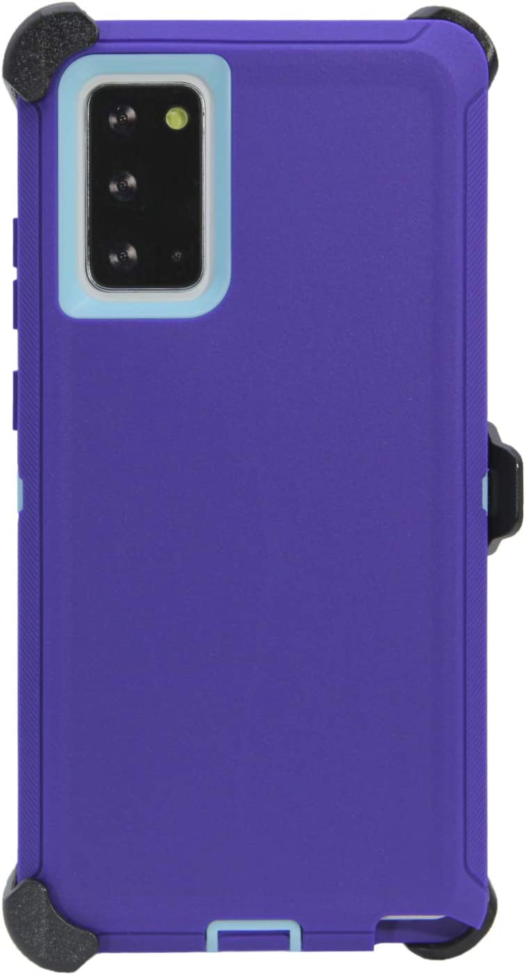 """WallSkiN Turtle Series Belt Clip Cases for Galaxy Note 20 Ultra (6.9""""), 3-Layer Full Body Life-Time Protective Cover & Holster & Kickstand & Shock, Drop, Dust Proof - Purple/Blue"""