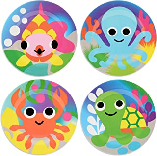 French Bull Kids Plate Set of 4 - BPA-Free, Tray, Animals, Toddler, Durable, Drop Resistant - Ocean