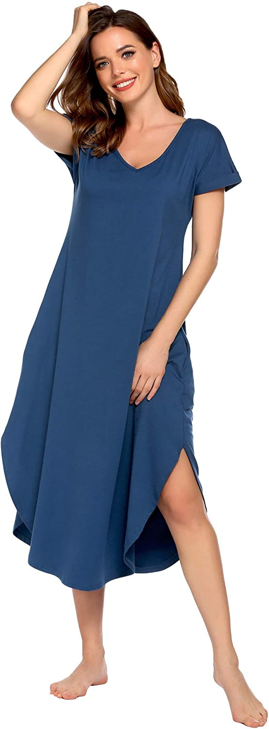 Evanhome Nightgown Women Casual Loungewear Comfy Housedress Scoop Neckline Lounge Dress Nightshirt with Pocket S-XXL