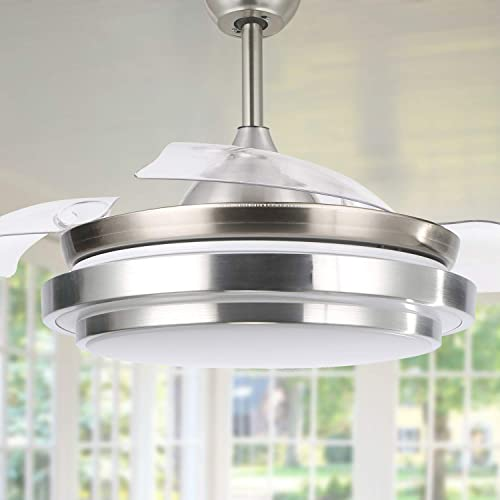 """high quality 36"""" Retractable Ceiling Fan with Lights and Remote Control Modern new arrival Ceiling Fan with Retractable sale Blades, Silent Motor, 3 Color Change, 4 Timing Options, Brushed Nickel outlet sale"""