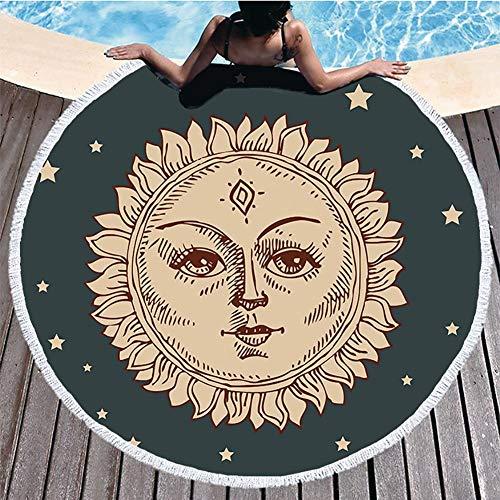Boyouth Toalla de Playa Redonda, impresión de Estampado, Alfombra de Playa con borlas, Ultra Suave, superabsorbente, Toalla Multiusos
