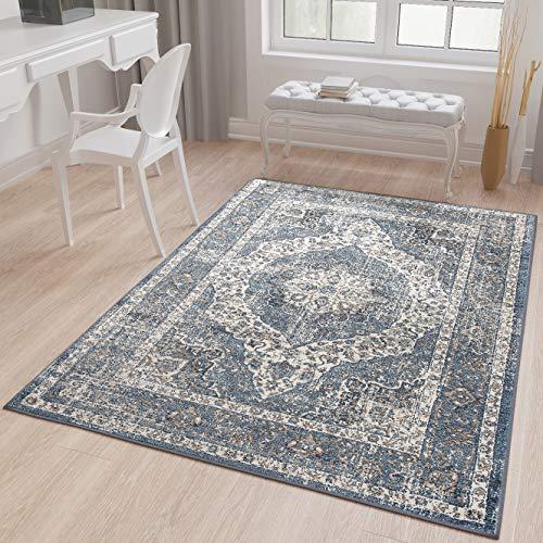 Tapiso Tibet Teppich Klassisch Kurzflor Orientalisch Medaillon Floral Ziegler Muster Creme Blau Vintage Wohnzimmer ÖKOTEX 120 x 170 cm