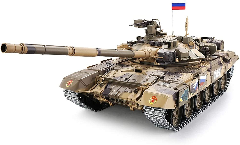 Pinjeer übergroe Fernbedienung Hauptkampf T90 Tank Metall Crawler Typ Kann Militr Modell Spielzeug Elektrische Gelndewagen Geschenke für Kinder 12 + (Farbe   Plastic, Gre   2-Battery)