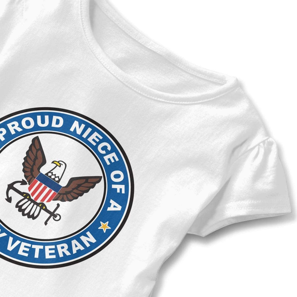Not/applicable US Navy Veteran Proud Niece Girls Kids Cute Tee Baseball Ruffle Dress Short Sleeve Cotton T Shirt