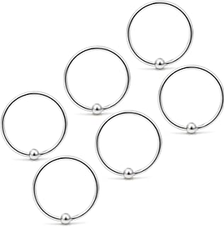 6PCS 22G Stainless Steel Attached Captive Bead Nose Hoop Rings Eyebrow Cartilage Helix Hook Earring Septum Ring Piercing Jewelry for Men Women
