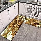 2 Piezas Alfombrillas de Cocina,Leopardo en un árbol en la Reserva de Sabi Sands Antideslizante Alfombra para Puerta de Baño Juego de alfombras Cocina Lavables