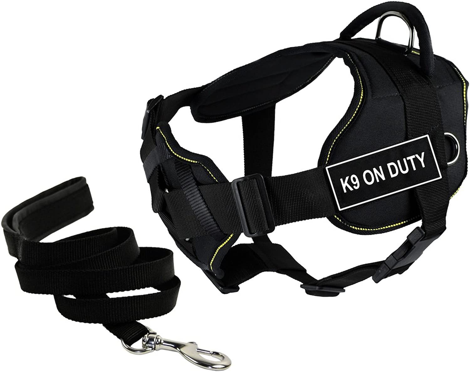 Dean & Tyler's DT Fun Chest Support K9 ON DUTY Harness, Medium, with 6 ft Padded Puppy Leash.