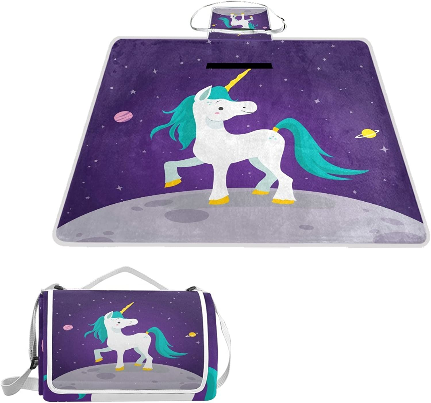 LiKai Picnic Blanket Moon Unicorn Foldable Portable Waterproof Outdoor Travelling Camping Beach Mat