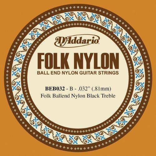 D'Addario BEB032 Folk Nylon, cuerda individual para guitarra, nailon negro, extremo de bola.032