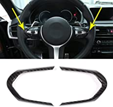 Car Steering Wheel Decoration Frame Accessories Cover Trim Carbon Fiber Style For BMW F20 F22 F21 F30 F32 F33 F36 F06 F12 F13 X5 F15 X6 F16 M-Sport ABS Chrome (Carbon Fiber)