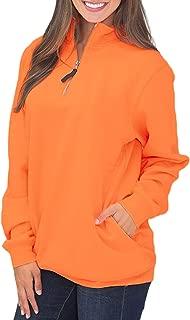 Women Solid High Neck Zipper Neck Long Sleeve Pullover Sweatshirt Tops