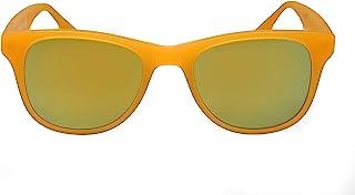 amoloma - Gafas de sol con cristales de espejo dorado mate y montura de acetato naranja mate para hombre y mujer