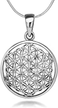 Chuvora 925 Sterling Silver Flower of Life Mandala 22 mm Circle Round Charm Pendant Necklace, 18 inches